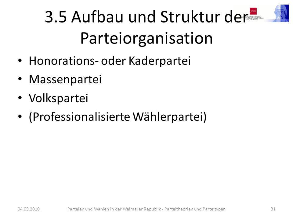 3.5 Aufbau und Struktur der Parteiorganisation Honorations- oder Kaderpartei Massenpartei Volkspartei (Professionalisierte Wählerpartei) 04.05.2010Par
