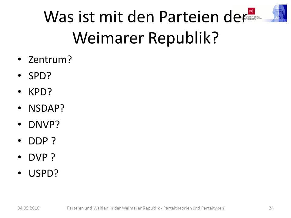Was ist mit den Parteien der Weimarer Republik? Zentrum? SPD? KPD? NSDAP? DNVP? DDP ? DVP ? USPD? 04.05.2010Parteien und Wahlen in der Weimarer Republ