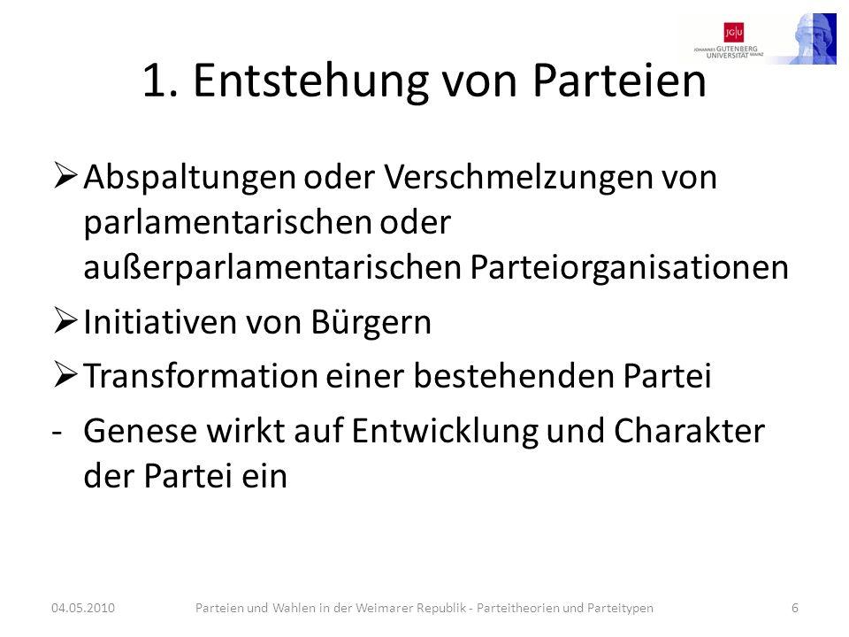 1. Entstehung von Parteien Abspaltungen oder Verschmelzungen von parlamentarischen oder außerparlamentarischen Parteiorganisationen Initiativen von Bü