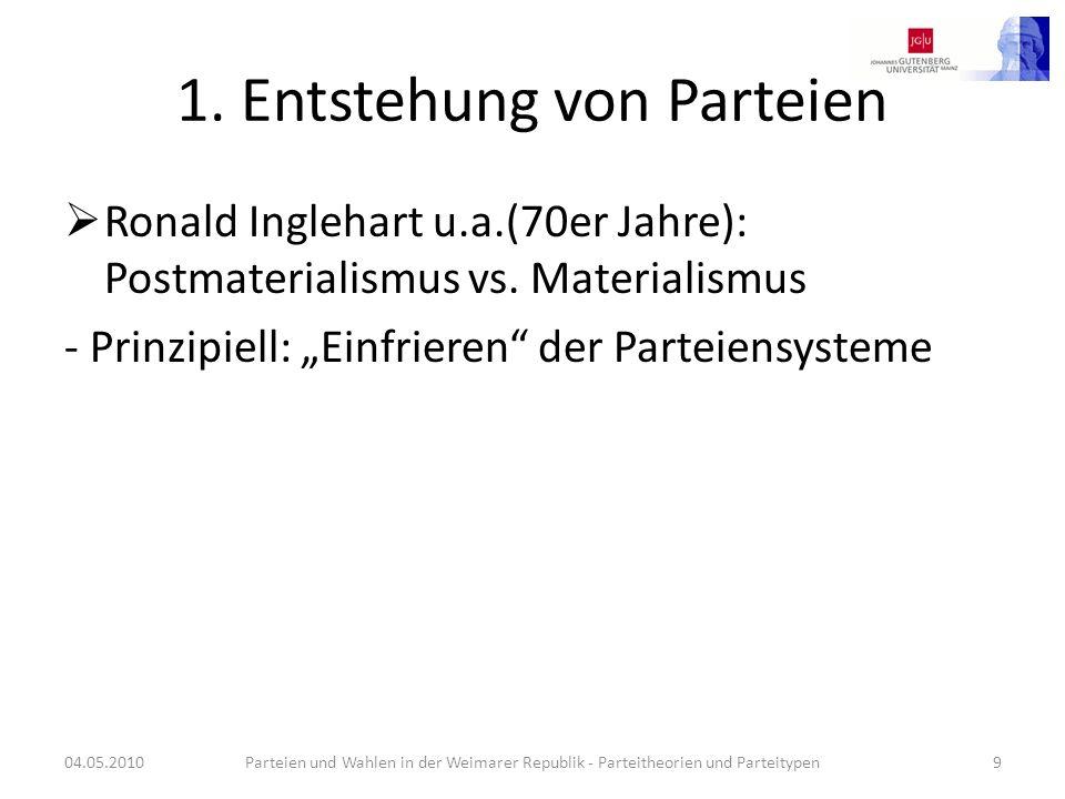 1. Entstehung von Parteien Ronald Inglehart u.a.(70er Jahre): Postmaterialismus vs. Materialismus - Prinzipiell: Einfrieren der Parteiensysteme 04.05.