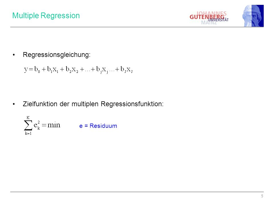 36 Multiple Regression – Modell 1 (Ausgangsmodell) REGRESSION /MISSING LISTWISE /STATISTICS COEFF OUTS CI R ANOVA TOL /CRITERIA=PIN(.05) POUT(.10) /NOORIGIN /DEPENDENT fr4_3 /METHOD=ENTER fr6_2 fr9_5 fr29_4 fr29_10 fr40_24 /RESIDUALS HIST(ZRESID).