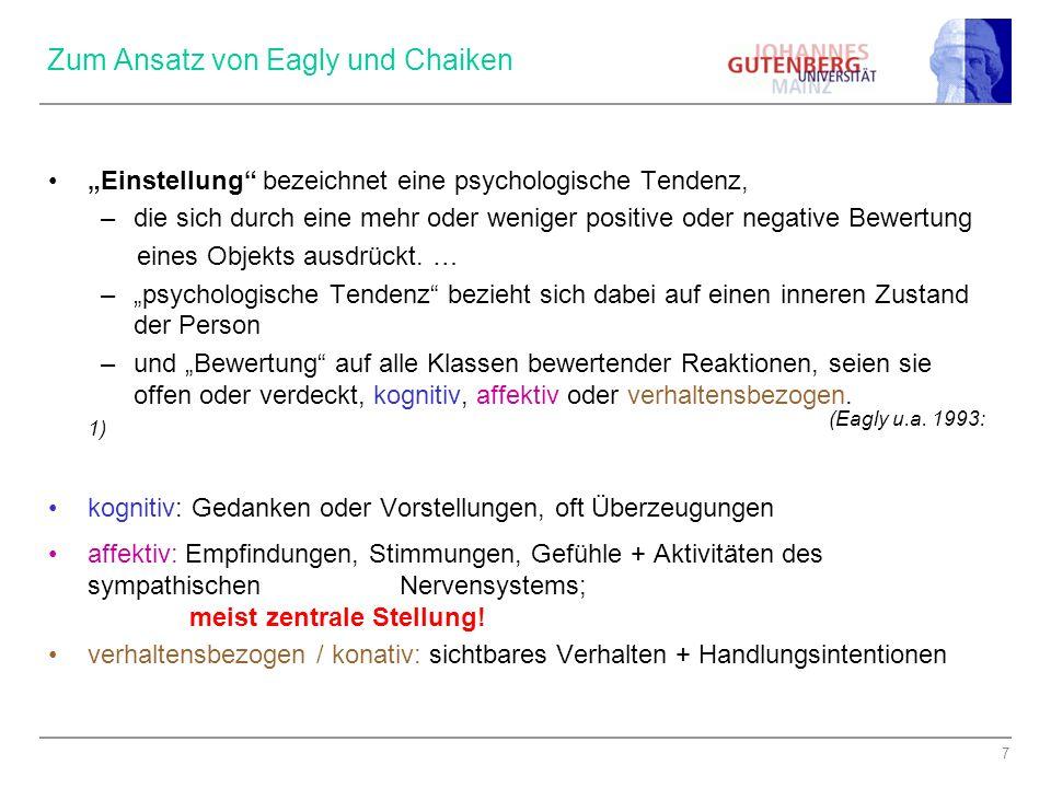 7 Zum Ansatz von Eagly und Chaiken Einstellung bezeichnet eine psychologische Tendenz, –die sich durch eine mehr oder weniger positive oder negative B