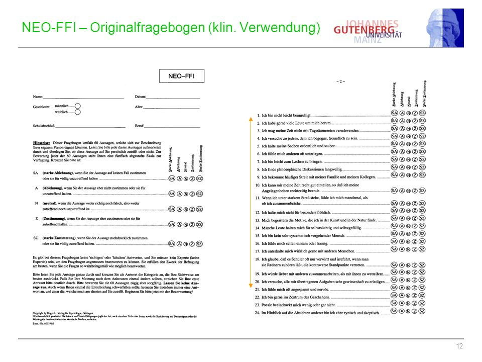 12 NEO-FFI – Originalfragebogen (klin. Verwendung)