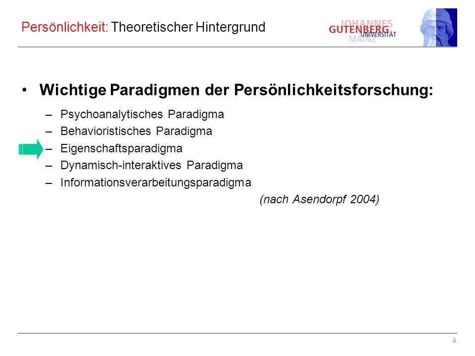 4 Persönlichkeit: Theoretischer Hintergrund Wichtige Paradigmen der Persönlichkeitsforschung: –Psychoanalytisches Paradigma –Behavioristisches Paradigma –Eigenschaftsparadigma –Dynamisch-interaktives Paradigma –Informationsverarbeitungsparadigma (nach Asendorpf 2004)