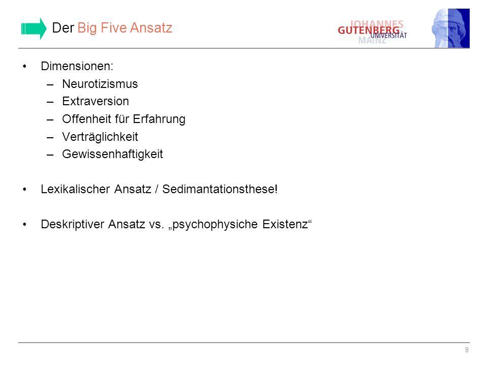 10 Messung der Big Five I: allgemeine Anmerkungen Fragebogen nur eine Möglichkeit der Messung.