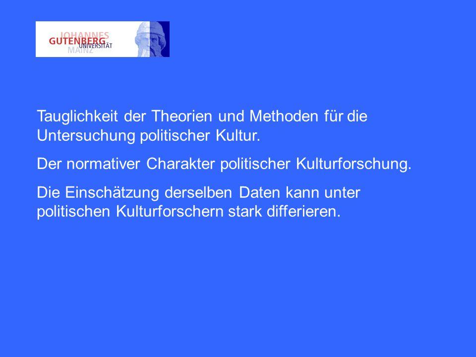 Tauglichkeit der Theorien und Methoden für die Untersuchung politischer Kultur.