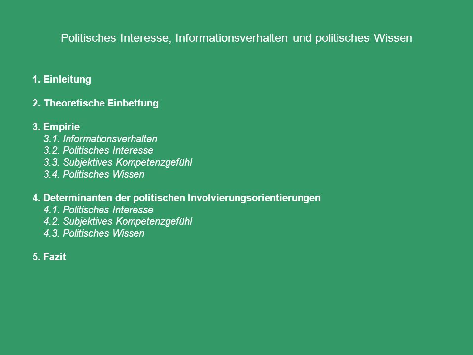 4.Determinanten der politischen Involvierungsorientierungen 4.1.