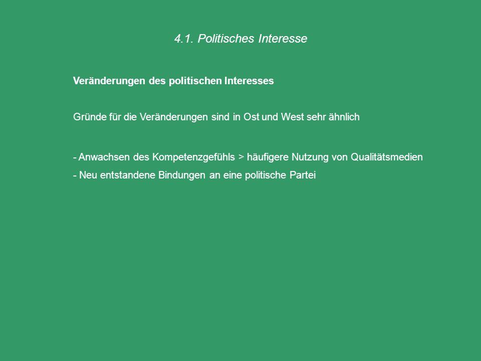 4.1. Politisches Interesse Veränderungen des politischen Interesses Gründe für die Veränderungen sind in Ost und West sehr ähnlich - Anwachsen des Kom