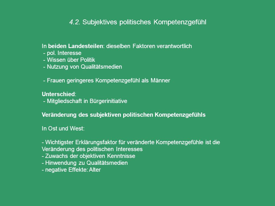 4.2. Subjektives politisches Kompetenzgefühl In beiden Landesteilen: dieselben Faktoren verantwortlich - pol. Interesse - Wissen über Politik - Nutzun