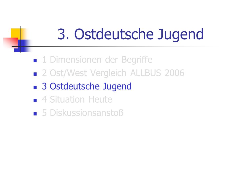 3. Ostdeutsche Jugend 1 Dimensionen der Begriffe 2 Ost/West Vergleich ALLBUS 2006 3 Ostdeutsche Jugend 4 Situation Heute 5 Diskussionsanstoß