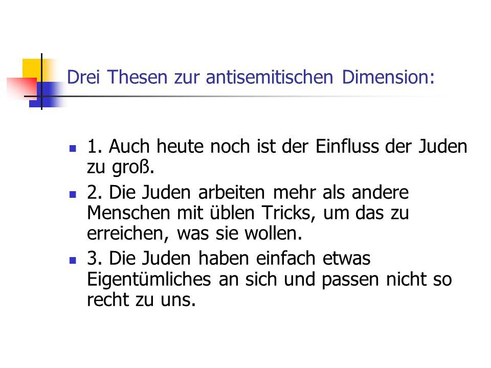 Drei Thesen zur antisemitischen Dimension: 1.Auch heute noch ist der Einfluss der Juden zu groß.