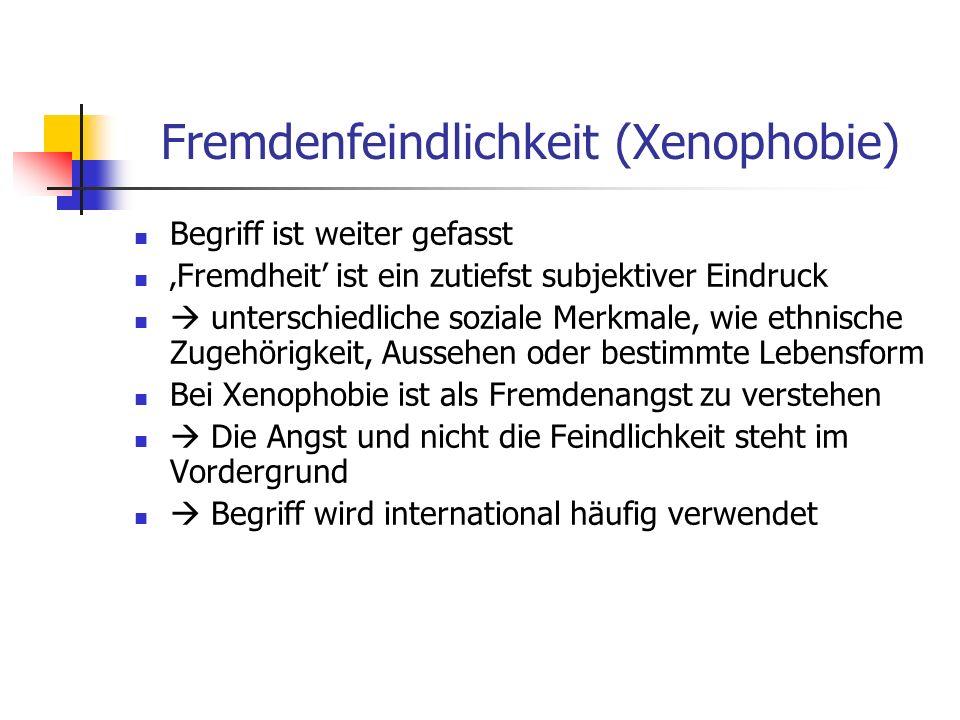 Fremdenfeindlichkeit (Xenophobie) Begriff ist weiter gefasst Fremdheit ist ein zutiefst subjektiver Eindruck unterschiedliche soziale Merkmale, wie ethnische Zugehörigkeit, Aussehen oder bestimmte Lebensform Bei Xenophobie ist als Fremdenangst zu verstehen Die Angst und nicht die Feindlichkeit steht im Vordergrund Begriff wird international häufig verwendet