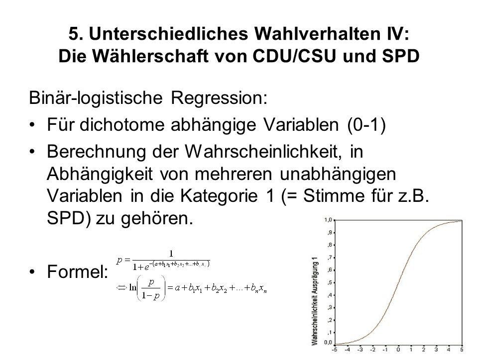 5. Unterschiedliches Wahlverhalten IV: Die Wählerschaft von CDU/CSU und SPD Binär-logistische Regression: Für dichotome abhängige Variablen (0-1) Bere
