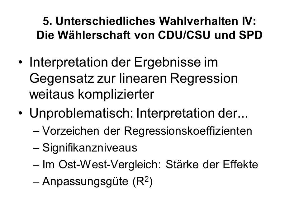 5. Unterschiedliches Wahlverhalten IV: Die Wählerschaft von CDU/CSU und SPD Interpretation der Ergebnisse im Gegensatz zur linearen Regression weitaus