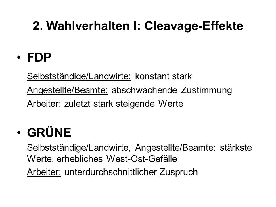 2. Wahlverhalten I: Cleavage-Effekte FDP Selbstständige/Landwirte: konstant stark Angestellte/Beamte: abschwächende Zustimmung Arbeiter: zuletzt stark