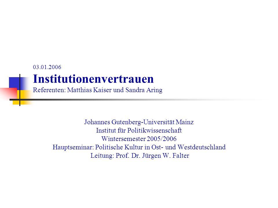 03.01.2006 Institutionenvertrauen Referenten: Matthias Kaiser und Sandra Aring Johannes Gutenberg-Universität Mainz Institut für Politikwissenschaft W