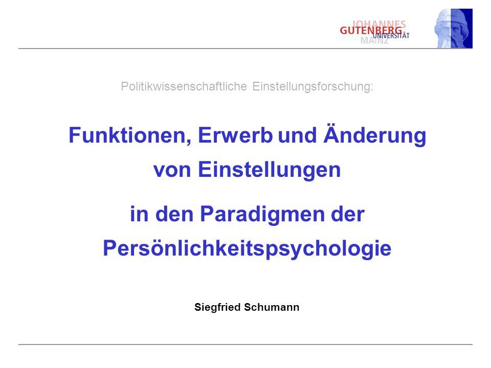 Politikwissenschaftliche Einstellungsforschung: Funktionen, Erwerb und Änderung von Einstellungen in den Paradigmen der Persönlichkeitspsychologie Sie