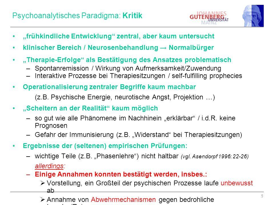 6 Psychoanalytisches Paradigma: Implikationen Rationale Prozesse bleiben weitgehend ausgeblendet Unser Verhalten (aus dem Einstellungen zu erschließen sind!) ist letztlich durch (unbewusste) Triebe motiviert Zentrale Bedeutung der typischen Triebdynamik (hochkomplexes System) –wichtigstes Kennzeichen einer Person.