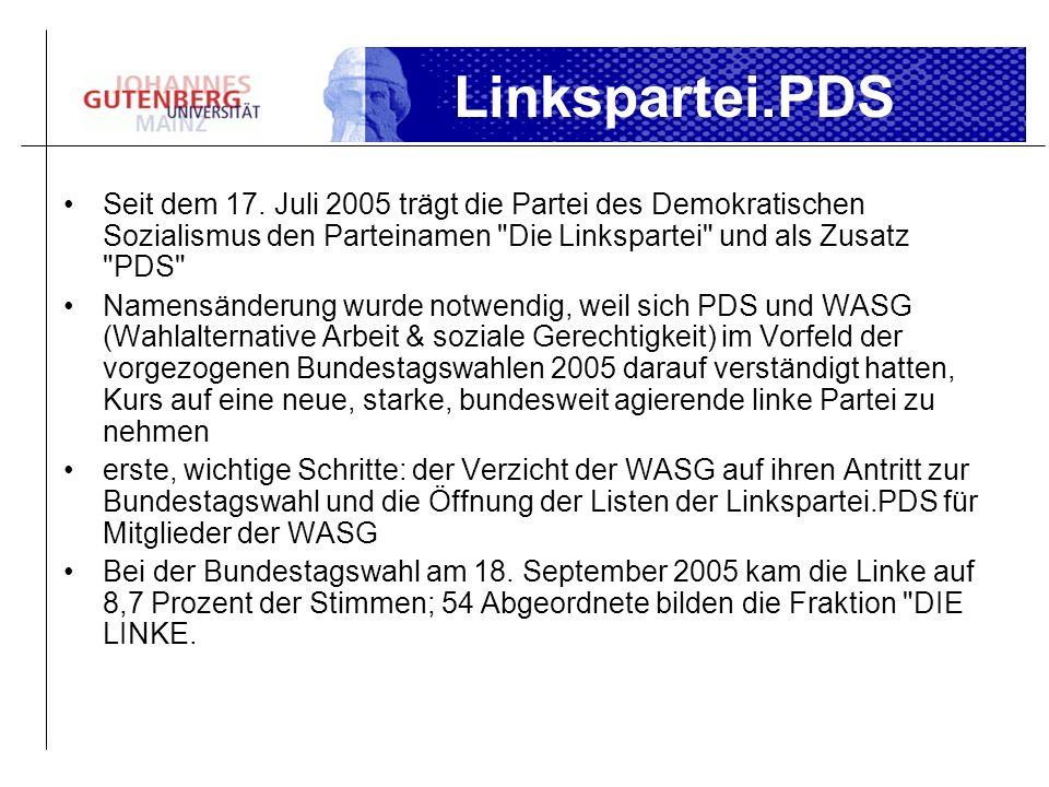 Linkspartei.PDS Seit dem 17. Juli 2005 trägt die Partei des Demokratischen Sozialismus den Parteinamen