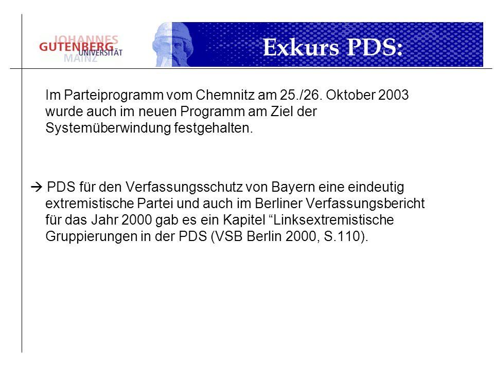 Im Parteiprogramm vom Chemnitz am 25./26. Oktober 2003 wurde auch im neuen Programm am Ziel der Systemüberwindung festgehalten. PDS für den Verfassung