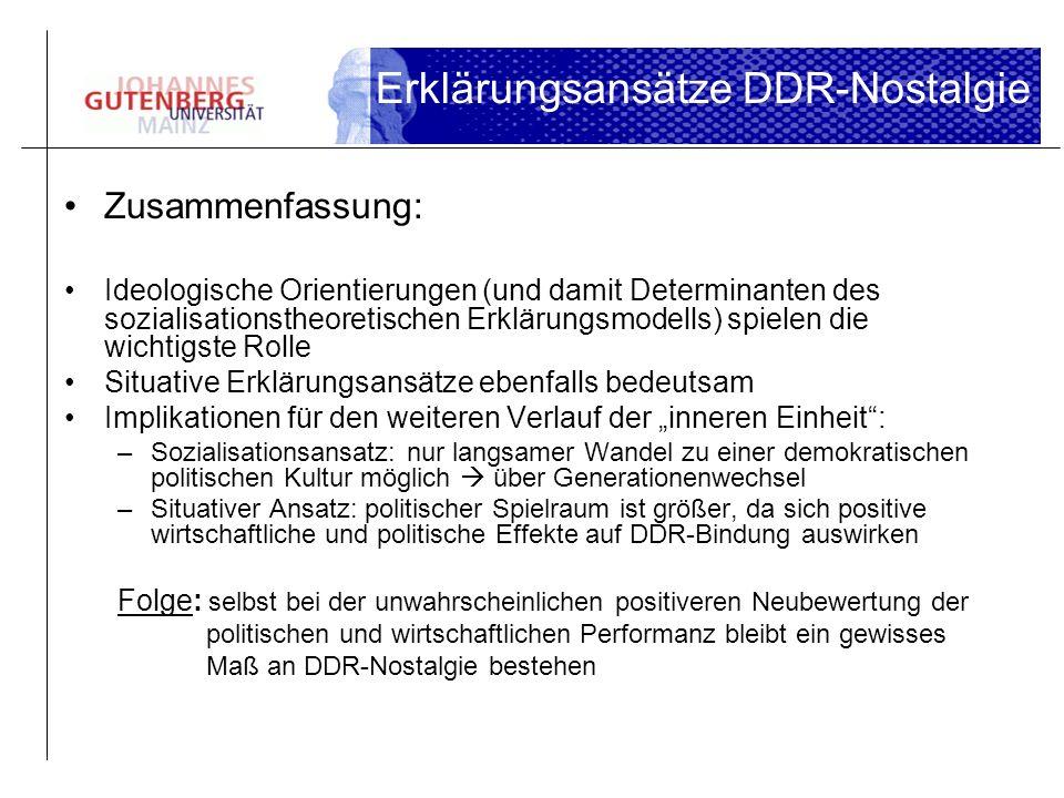 Erklärungsansätze DDR-Nostalgie Zusammenfassung: Ideologische Orientierungen (und damit Determinanten des sozialisationstheoretischen Erklärungsmodell