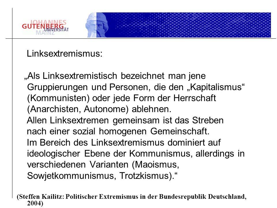 Linksextremismus: Als Linksextremistisch bezeichnet man jene Gruppierungen und Personen, die den Kapitalismus (Kommunisten) oder jede Form der Herrsch