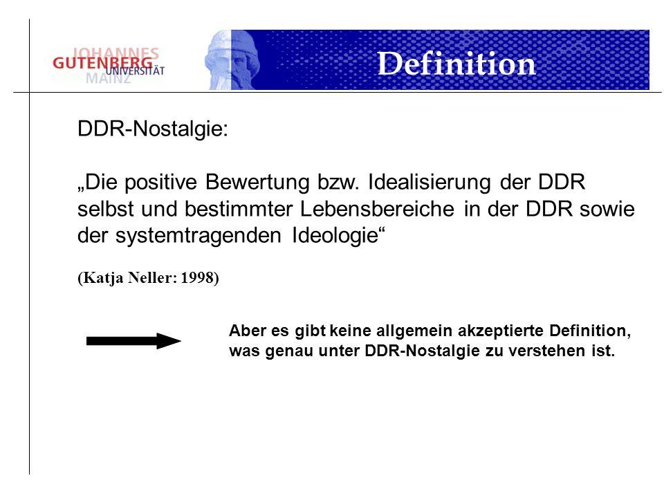DDR-Nostalgie: Die positive Bewertung bzw. Idealisierung der DDR selbst und bestimmter Lebensbereiche in der DDR sowie der systemtragenden Ideologie (