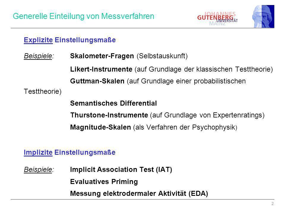 2 Generelle Einteilung von Messverfahren Explizite Einstellungsmaße Beispiele:Skalometer-Fragen (Selbstauskunft) Likert-Instrumente (auf Grundlage der