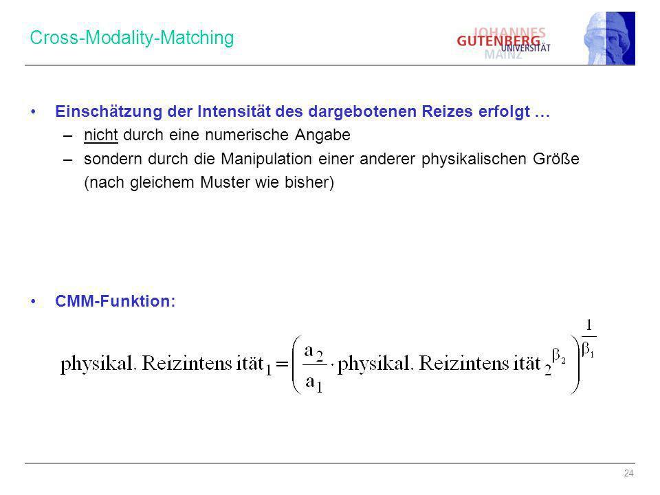 24 Cross-Modality-Matching Einschätzung der Intensität des dargebotenen Reizes erfolgt … –nicht durch eine numerische Angabe –sondern durch die Manipu