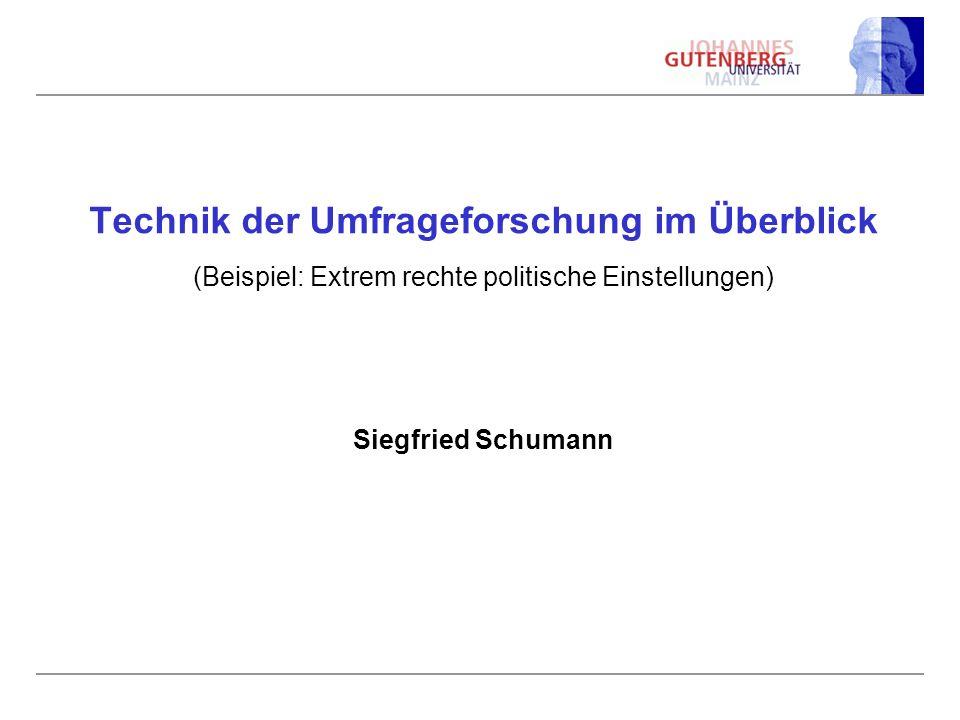 Technik der Umfrageforschung im Überblick (Beispiel: Extrem rechte politische Einstellungen) Siegfried Schumann