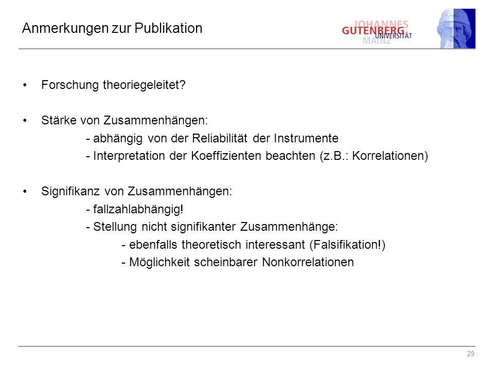 29 Anmerkungen zur Publikation Forschung theoriegeleitet.