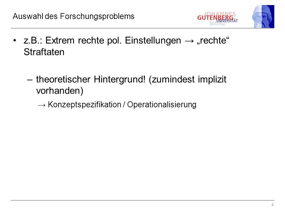 4 Auswahl des Forschungsproblems z.B.: Extrem rechte pol.