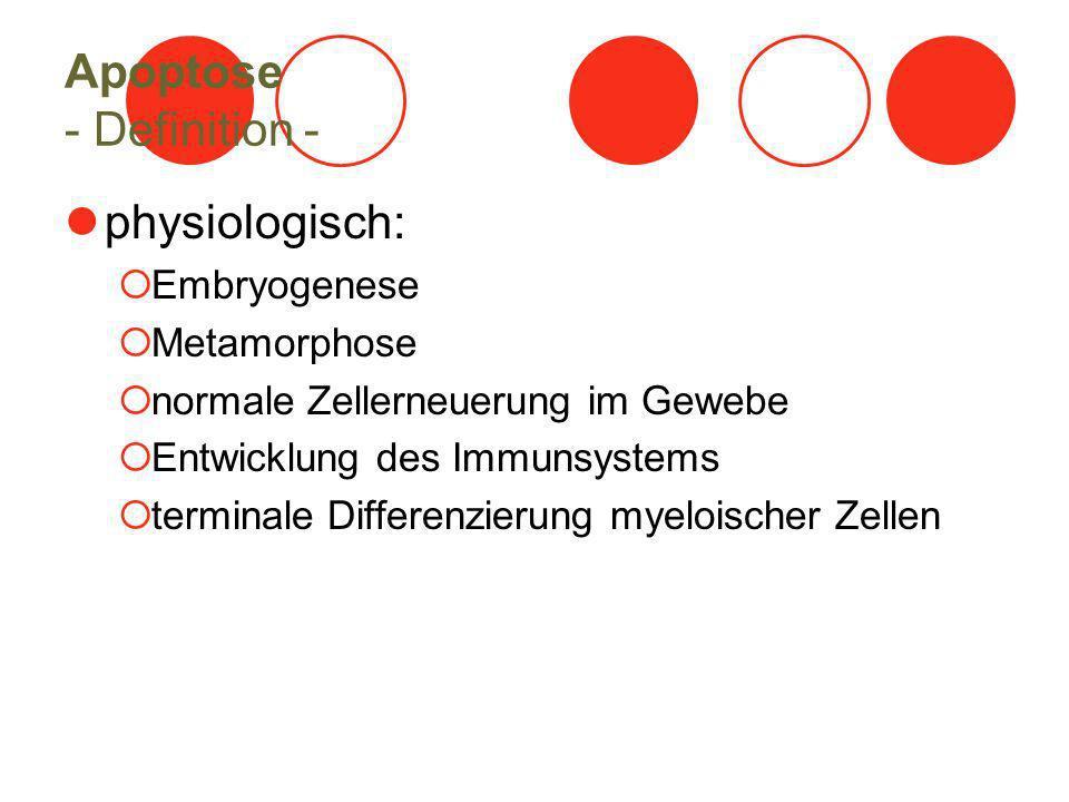 Apoptose - Definition - physiologisch: Embryogenese Metamorphose normale Zellerneuerung im Gewebe Entwicklung des Immunsystems terminale Differenzieru
