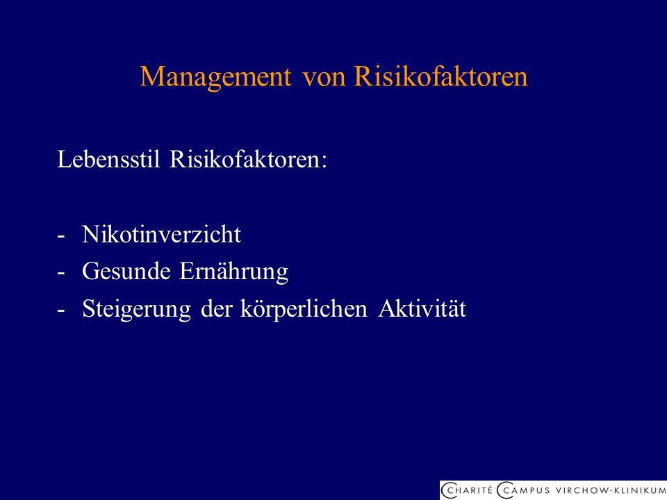 Management von Risikofaktoren Lebensstil Risikofaktoren: -Nikotinverzicht -Gesunde Ernährung -Steigerung der körperlichen Aktivität