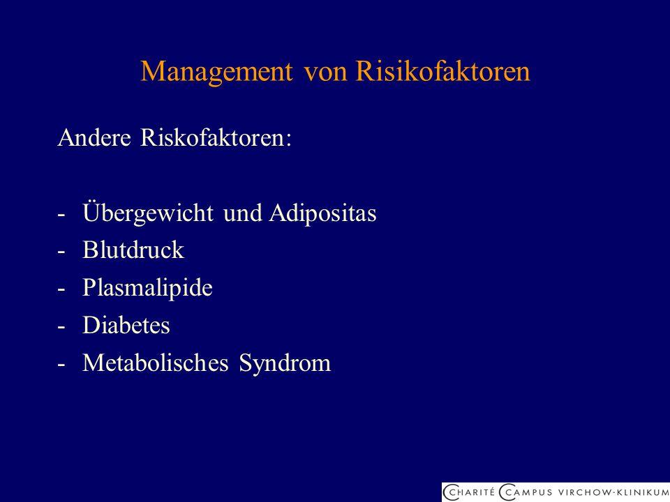 Management von Risikofaktoren Andere Riskofaktoren: -Übergewicht und Adipositas -Blutdruck -Plasmalipide -Diabetes -Metabolisches Syndrom