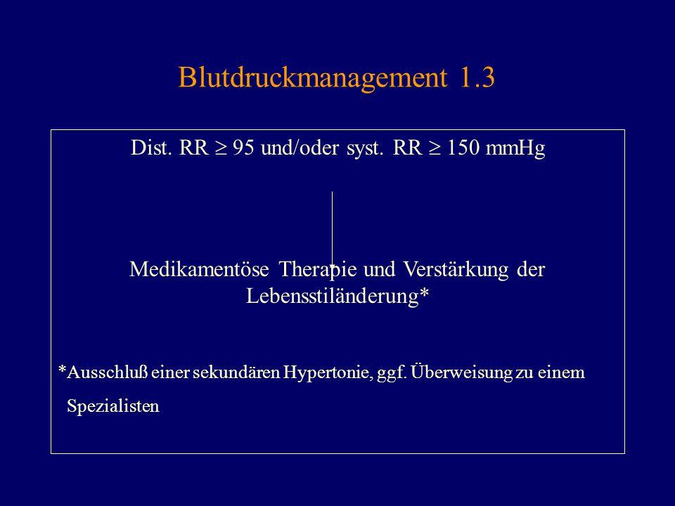 Blutdruckmanagement 1.3 Dist. RR 95 und/oder syst. RR 150 mmHg Medikamentöse Therapie und Verstärkung der Lebensstiländerung* *Ausschluß einer sekundä