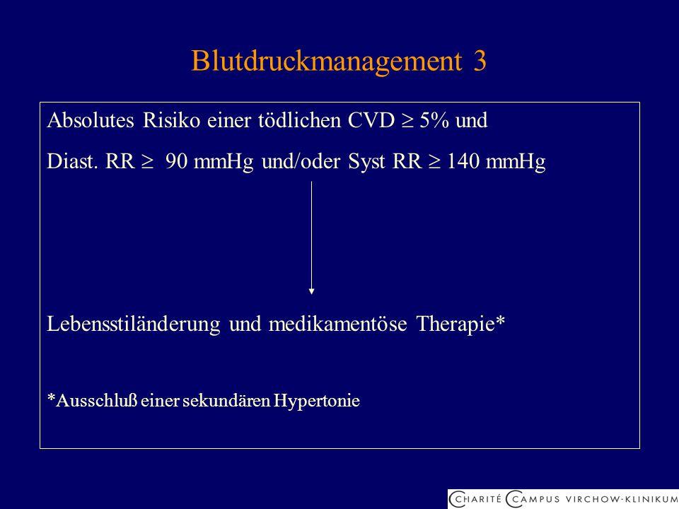 Blutdruckmanagement 3 Absolutes Risiko einer tödlichen CVD 5% und Diast. RR 90 mmHg und/oder Syst RR 140 mmHg Lebensstiländerung und medikamentöse The
