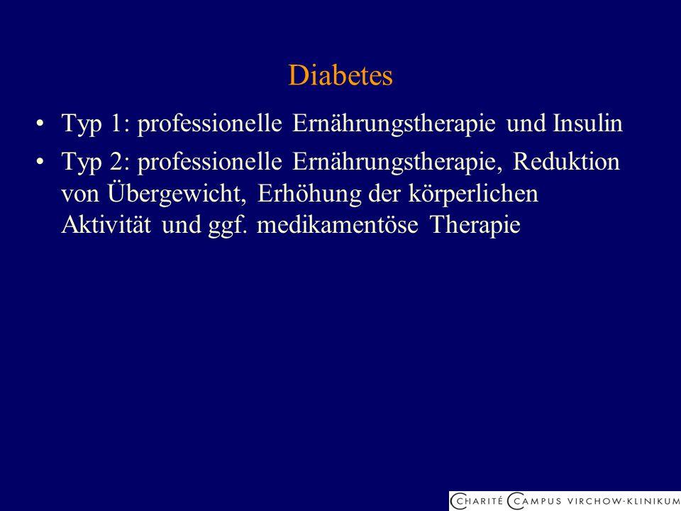 Diabetes Typ 1: professionelle Ernährungstherapie und Insulin Typ 2: professionelle Ernährungstherapie, Reduktion von Übergewicht, Erhöhung der körper