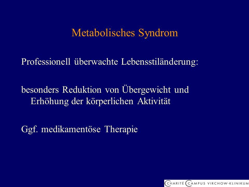 Metabolisches Syndrom Professionell überwachte Lebensstiländerung: besonders Reduktion von Übergewicht und Erhöhung der körperlichen Aktivität Ggf. me