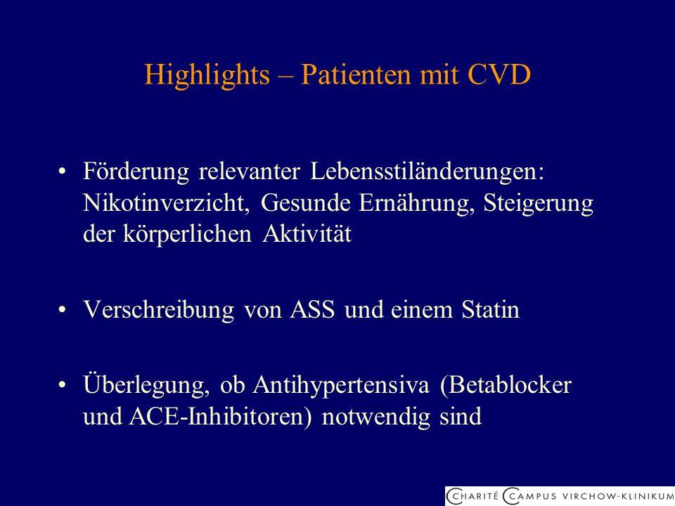 Highlights – Patienten mit CVD Förderung relevanter Lebensstiländerungen: Nikotinverzicht, Gesunde Ernährung, Steigerung der körperlichen Aktivität Ve