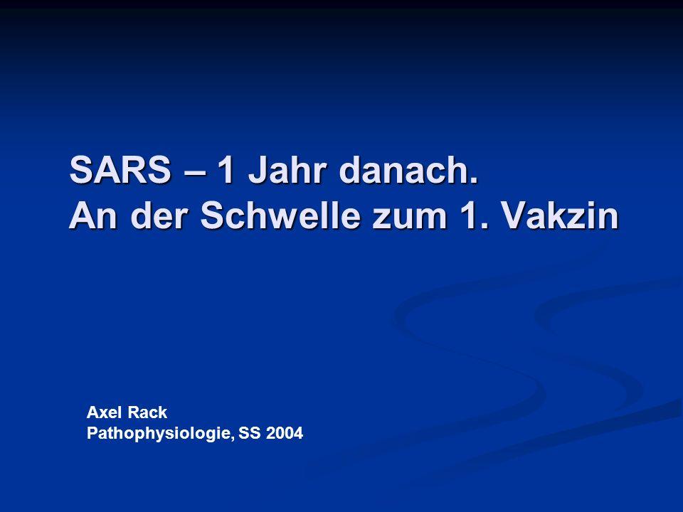SARS – 1 Jahr danach. An der Schwelle zum 1. Vakzin Axel Rack Pathophysiologie, SS 2004