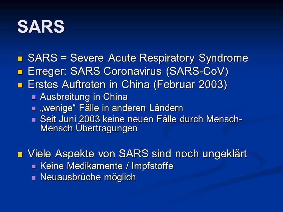 SARS SARS = Severe Acute Respiratory Syndrome SARS = Severe Acute Respiratory Syndrome Erreger: SARS Coronavirus (SARS-CoV) Erreger: SARS Coronavirus (SARS-CoV) Erstes Auftreten in China (Februar 2003) Erstes Auftreten in China (Februar 2003) Ausbreitung in China Ausbreitung in China wenige Fälle in anderen Ländern wenige Fälle in anderen Ländern Seit Juni 2003 keine neuen Fälle durch Mensch- Mensch Übertragungen Seit Juni 2003 keine neuen Fälle durch Mensch- Mensch Übertragungen Viele Aspekte von SARS sind noch ungeklärt Viele Aspekte von SARS sind noch ungeklärt Keine Medikamente / Impfstoffe Keine Medikamente / Impfstoffe Neuausbrüche möglich Neuausbrüche möglich