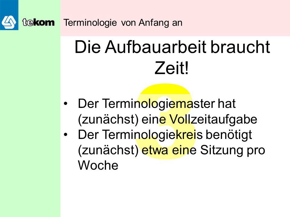 3 Die Aufbauarbeit braucht Zeit! Der Terminologiemaster hat (zunächst) eine Vollzeitaufgabe Der Terminologiekreis benötigt (zunächst) etwa eine Sitzun
