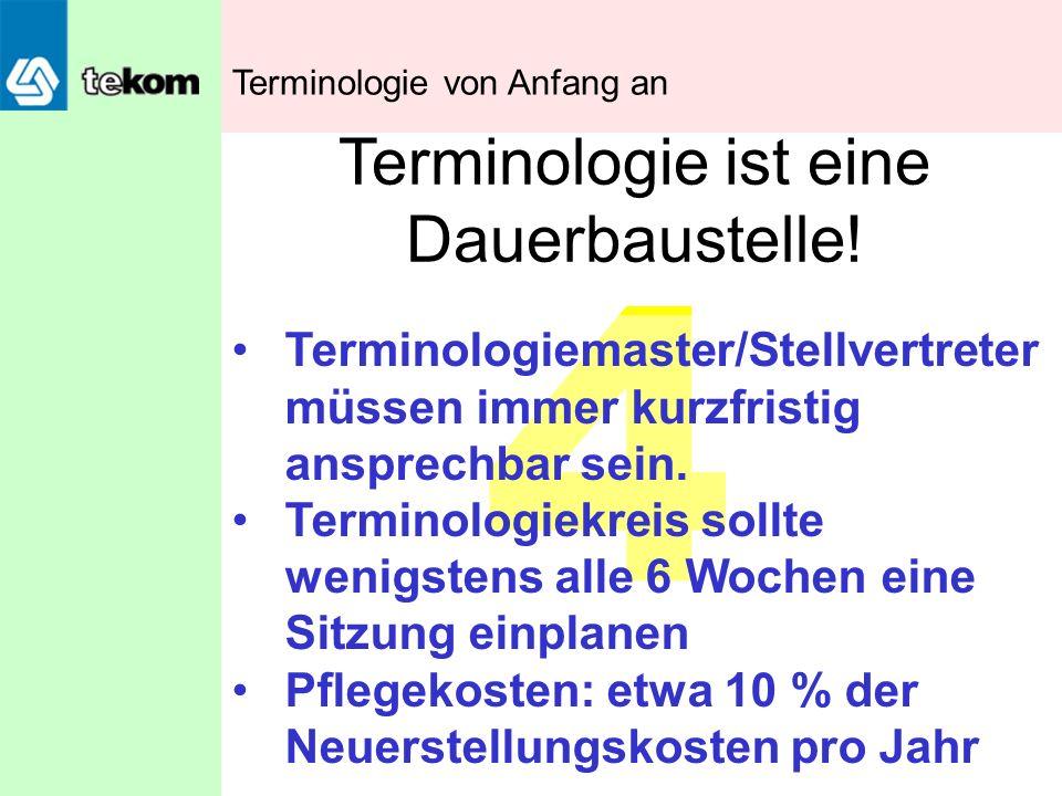 4 Terminologie ist eine Dauerbaustelle! Terminologiemaster/Stellvertreter müssen immer kurzfristig ansprechbar sein. Terminologiekreis sollte wenigste