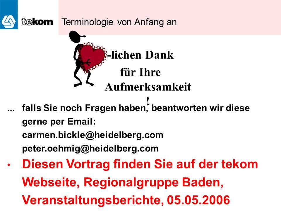 -lichen Dank für Ihre Aufmerksamkeit !... falls Sie noch Fragen haben, beantworten wir diese gerne per Email: carmen.bickle@heidelberg.com peter.oehmi