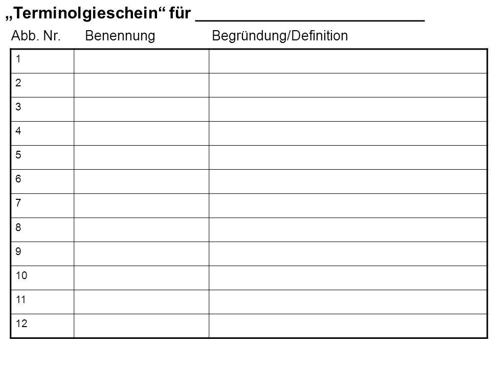 Terminolgieschein für _________________________ 1 2 3 4 5 6 7 8 9 10 11 12 Abb. Nr.Begründung/DefinitionBenennung