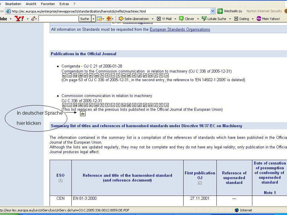 © Carl-Heinz Gabriel RG Berlin-Brandenburg 29.01.07 Wie finde ich die richtigen Normen? 24 In deutscher Sprache hier klicken