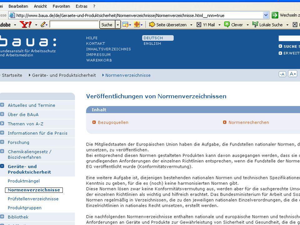 © Carl-Heinz Gabriel RG Berlin-Brandenburg 29.01.07 Wie finde ich die richtigen Normen? 30