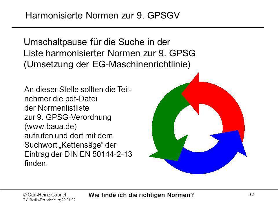 © Carl-Heinz Gabriel RG Berlin-Brandenburg 29.01.07 Wie finde ich die richtigen Normen? 32 Umschaltpause für die Suche in der Liste harmonisierter Nor