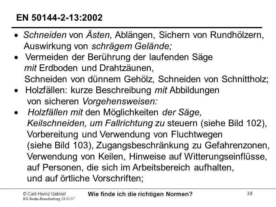 © Carl-Heinz Gabriel RG Berlin-Brandenburg 29.01.07 Wie finde ich die richtigen Normen? 38 EN 50144-2-13:2002 Schneiden von Ästen, Ablängen, Sichern v